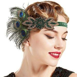 1920s Flapper Headband Peacock Feather Crystal NWT
